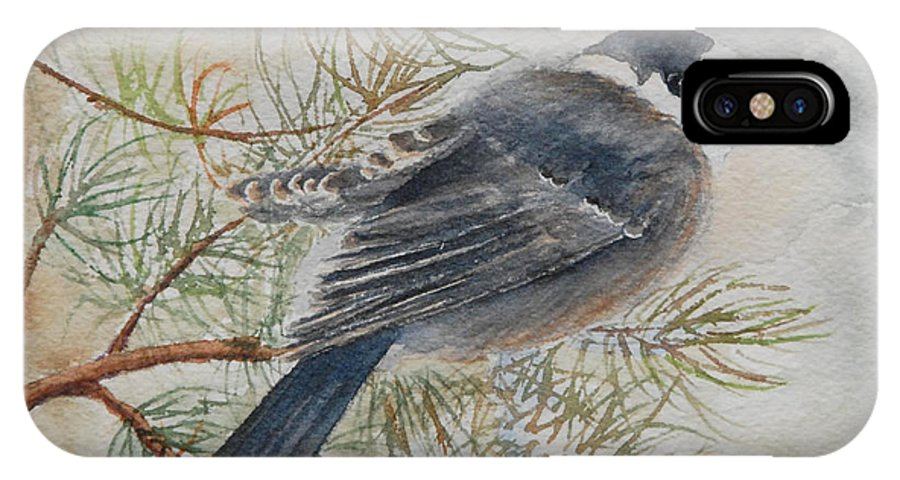 Bird IPhone Case featuring the painting Grey Jay by Ruth Kamenev