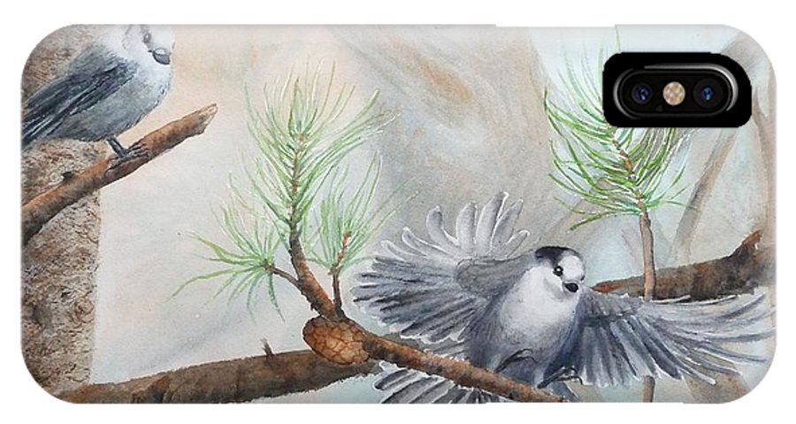 Grey Jay IPhone X Case featuring the painting Grey Jays In A Jack Pine by Ruth Kamenev