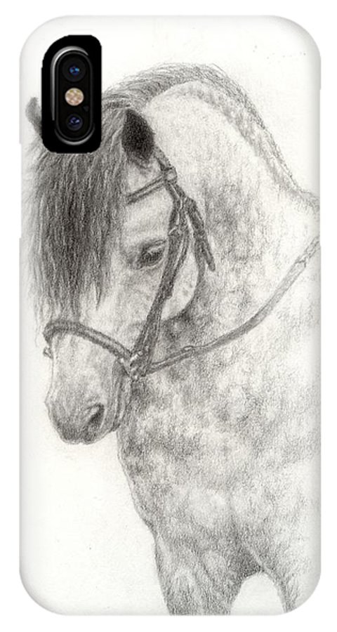 Pony IPhone X Case featuring the drawing Grey Pony by Jennifer Nilsson