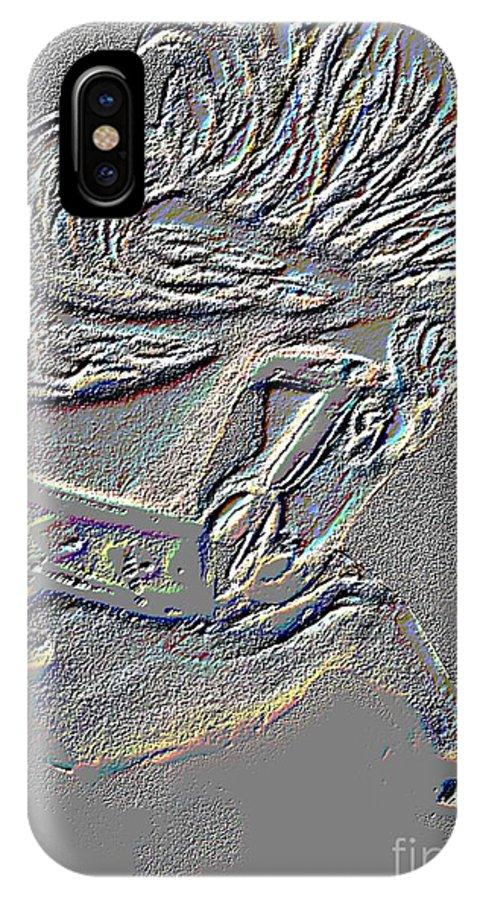 Digital IPhone X Case featuring the digital art Grey Stone Carousel Horse by Patty Vicknair