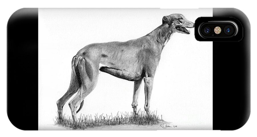 Dog IPhone X Case featuring the drawing Greyhound by Karen Townsend
