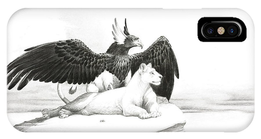 Griffin IPhone X / XS Case featuring the painting Griffin And Lioness by Melissa A Benson