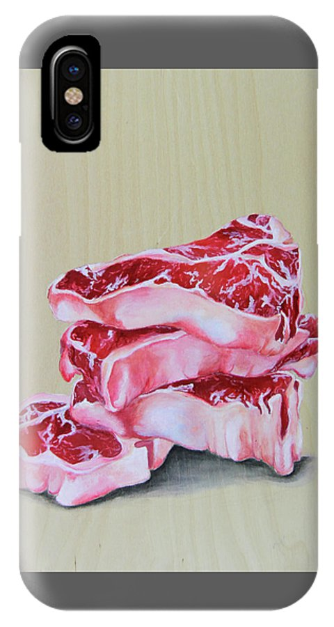 Steak IPhone X Case featuring the painting Grilling Memories by Lacey Hermiston