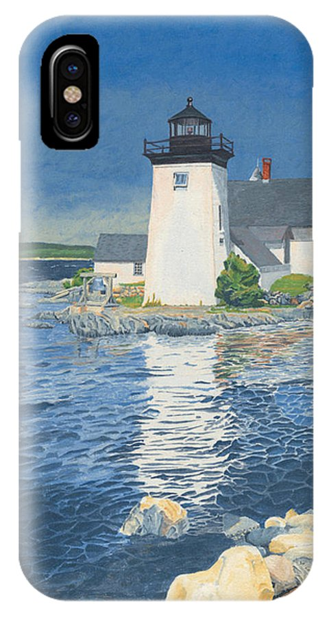Lighthouse IPhone Case featuring the painting Grindle Point Light by Dominic White