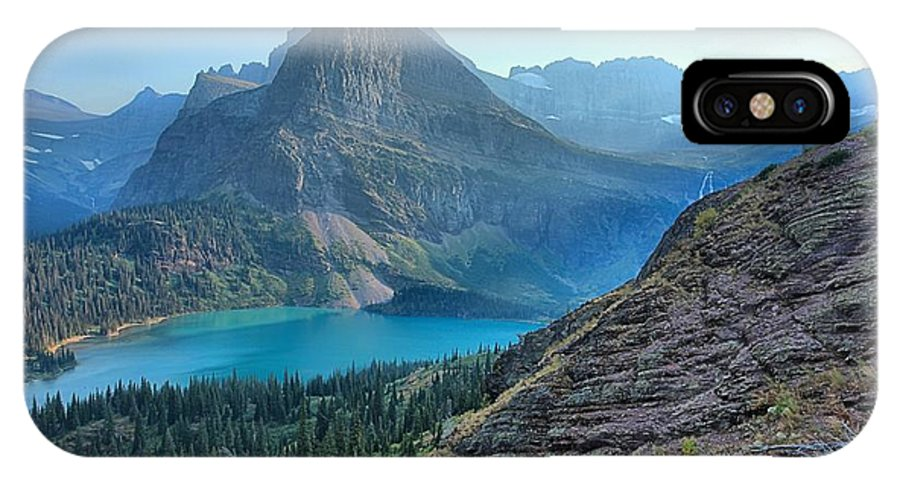Grinnell IPhone X / XS Case featuring the photograph Grinnell Lake - Many Glacier by Adam Jewell