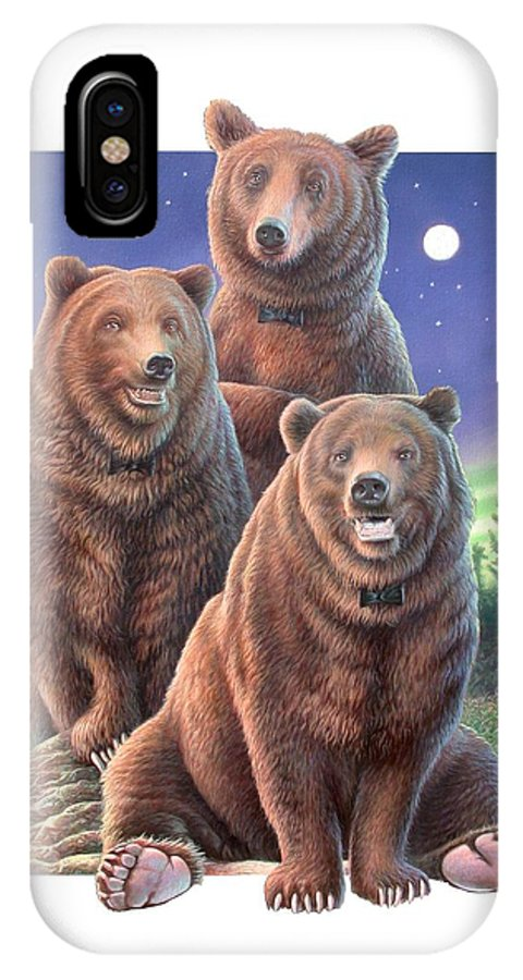 Grizzly IPhone X Case featuring the painting Grizzly Bears In Starry Night by Hans Droog