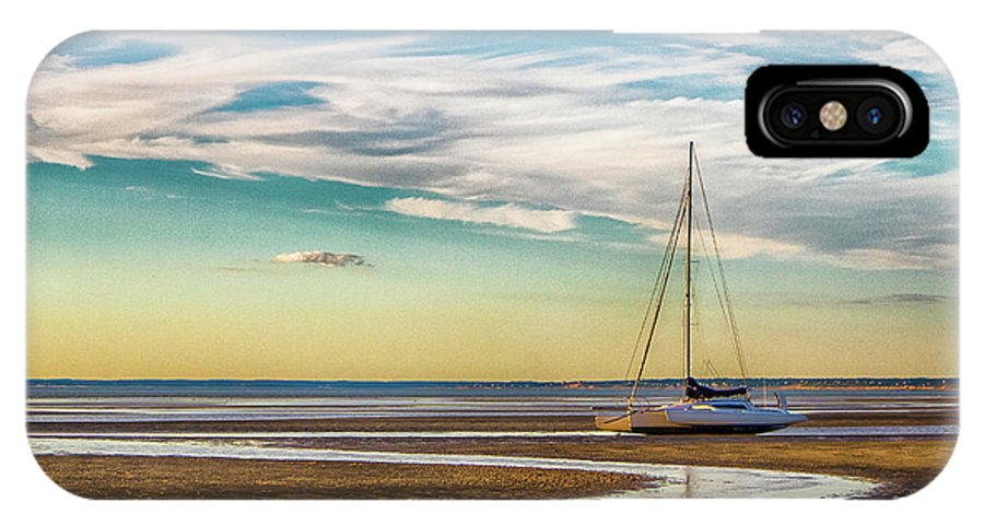 Sailboat IPhone X Case featuring the photograph Grounded On The Beach by Robert Anastasi