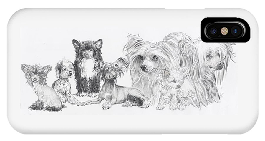 Toy Group IPhone X Case featuring the drawing Growing Up Chinese Crested And Powderpuff by Barbara Keith