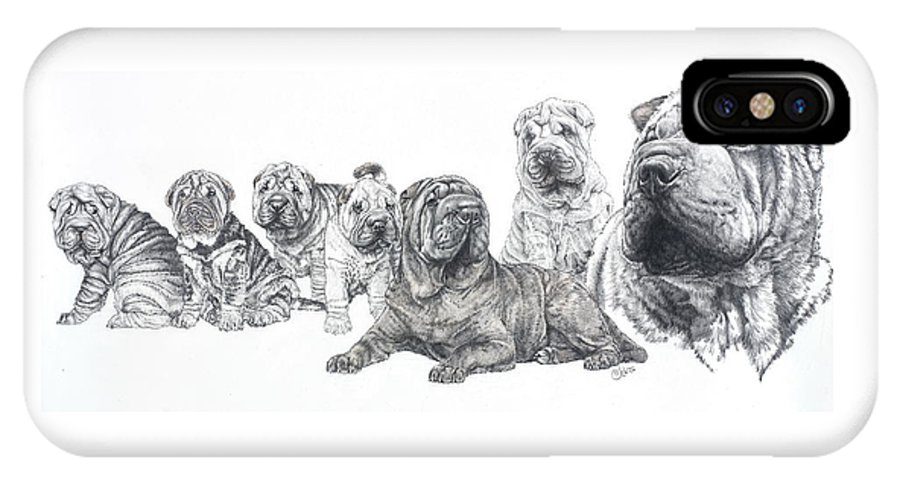 Non-sporting Group IPhone X Case featuring the drawing Growing Up Chinese Shar-pei by Barbara Keith