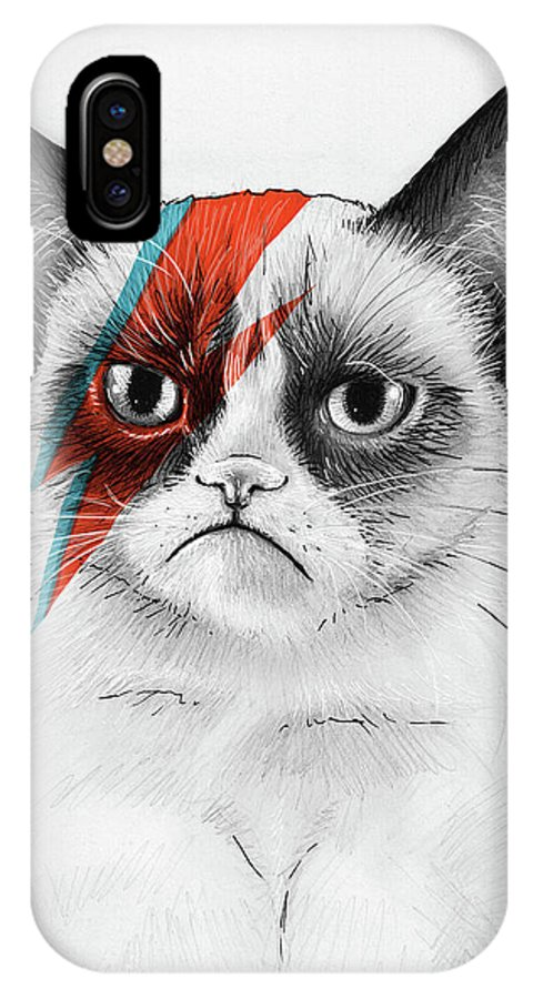 Grumpy Cat IPhone X Case featuring the drawing Grumpy Cat as David Bowie by Olga Shvartsur