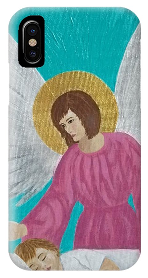 Guardian IPhone X Case featuring the painting Guardian Angel by Angela Miles Varnado