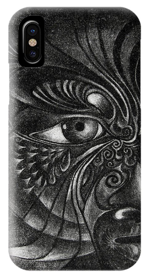 Mezzotint IPhone X Case featuring the drawing Guardian Cherub by Otto Rapp