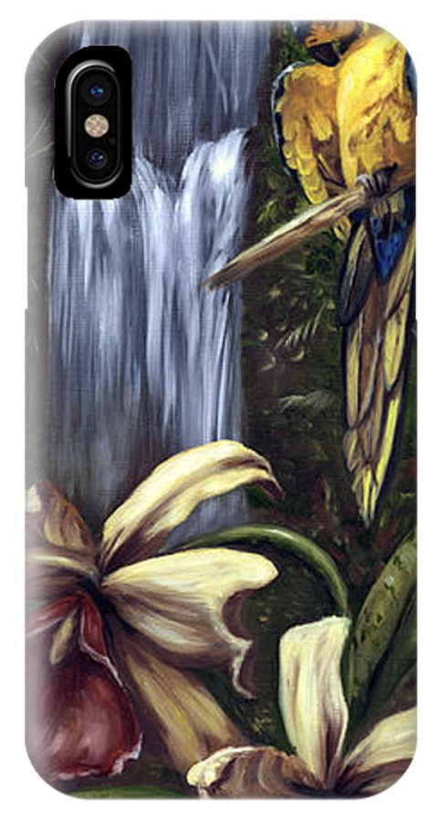 Birds IPhone X Case featuring the painting Guardian Of The Falls by Anne Kushnick