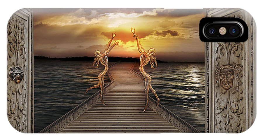 Coast Dream Faeries Figure Horizon Longing Magic Mystery Radiance Sea Sky Stairs Sunset Surrealism IPhone X Case featuring the photograph Guardians Of The Light by Desislava Draganova