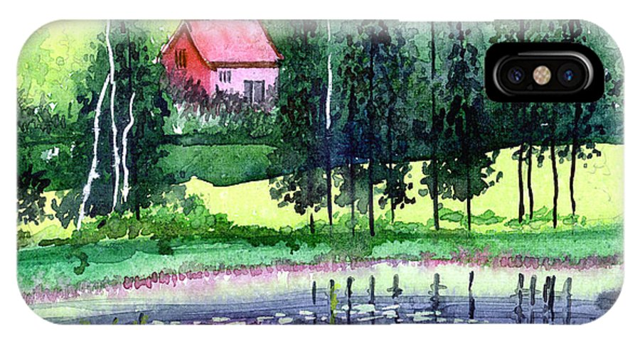 Landscape IPhone Case featuring the painting Guest House by Anil Nene