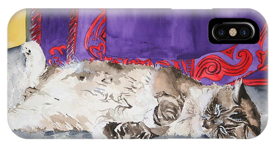 Cat IPhone X Case featuring the painting Guilley by Jean Blackmer