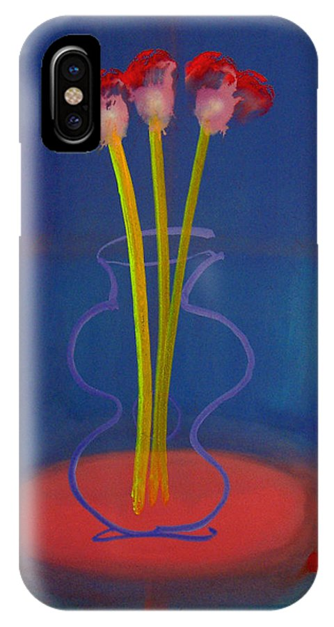 Guitar IPhone X Case featuring the painting Guitar Vase by Charles Stuart