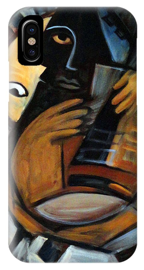 Cubism IPhone X Case featuring the painting Guitarist by Valerie Vescovi