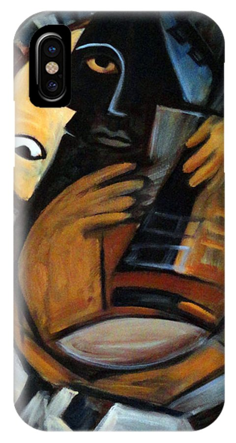 Cubism IPhone Case featuring the painting Guitarist by Valerie Vescovi