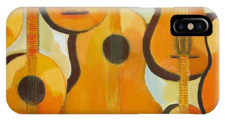 Abstract IPhone X Case featuring the painting Guitars by Habib Ayat