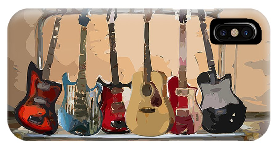 Guitar IPhone Case featuring the digital art Guitars On A Rack by Arline Wagner