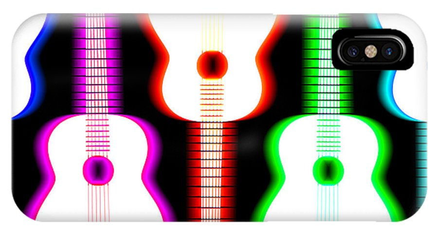 Acoustic Guitar IPhone X Case featuring the digital art Guitars On Fire 5 by Andy Smy