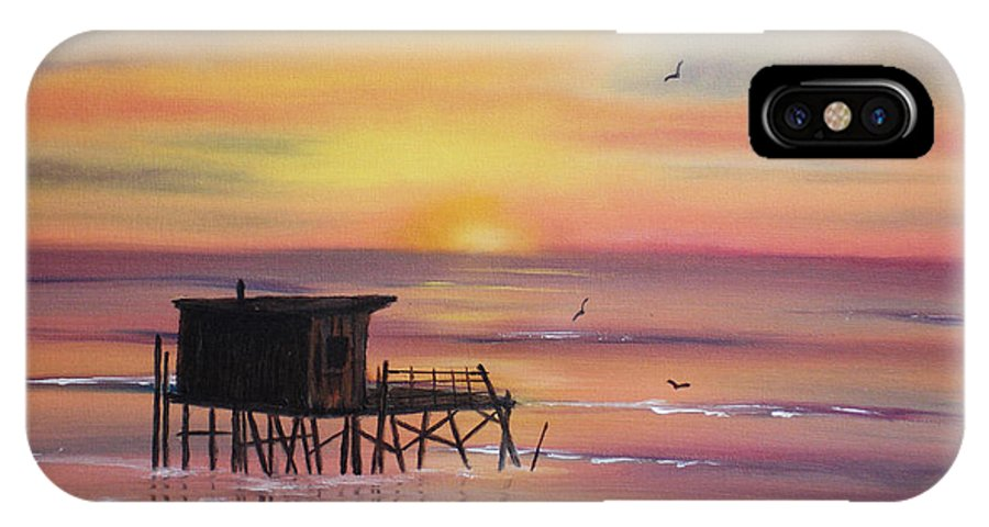 Sunset IPhone X Case featuring the painting Gulf Coast Fishing Shack by Susan Kubes