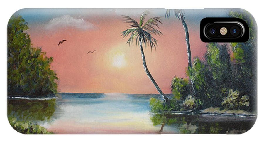Sunset IPhone X Case featuring the painting Gulf Coast Sunset by Susan Kubes
