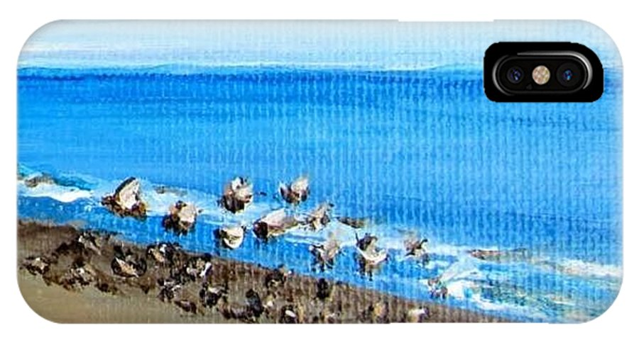 Seagull IPhone X Case featuring the painting Gulls at Play by Laurie Morgan