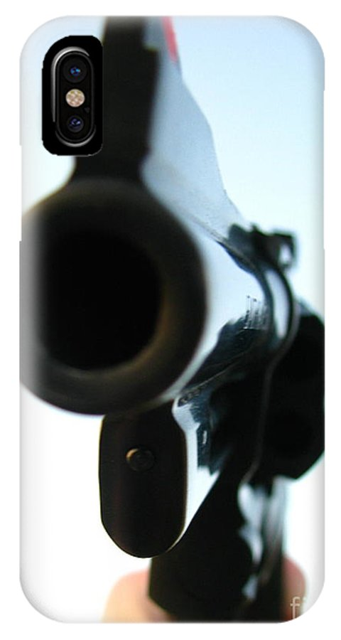 Guns IPhone X Case featuring the photograph Gun by Amanda Barcon