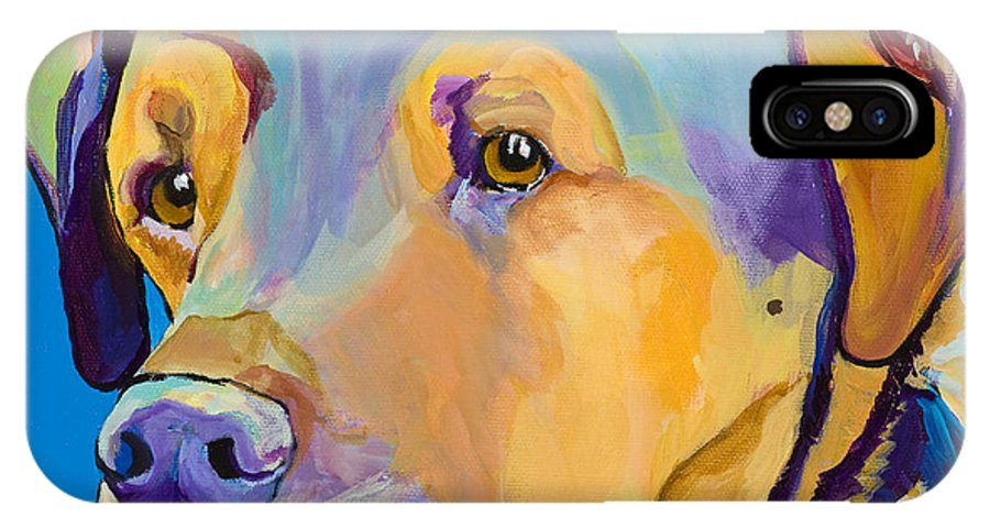Dog Portrait IPhone X Case featuring the painting Gunner by Pat Saunders-White