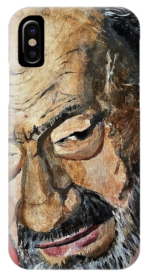 Man IPhone X Case featuring the painting Gus, May He R.i.p. by Julie Wittwer