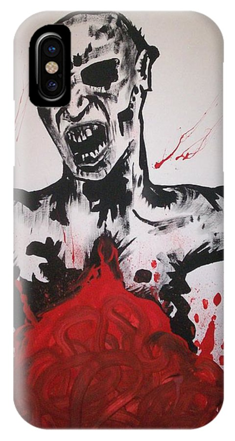 Zombie IPhone X Case featuring the painting Gutted by Sam Hane