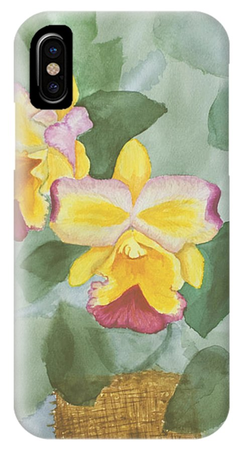 Orchids IPhone X Case featuring the painting Gypsy Orchids by Peggy King