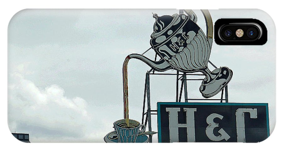 H And C Coffee Sign IPhone X Case featuring the photograph H and C Coffee Sign in Roanoke Virginia II by Suzanne Gaff