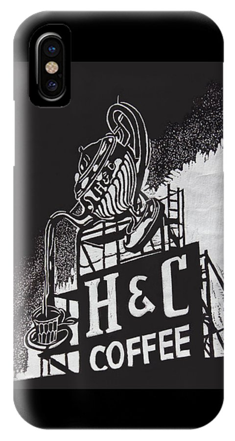 Photograph IPhone X Case featuring the photograph H and C Coffee Sign by Suzanne Gaff