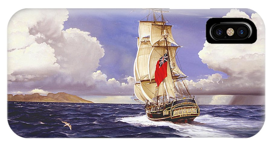 Marine IPhone X Case featuring the painting H. M. S. Bounty At Tahiti by Marc Stewart