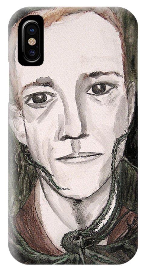 Artist Cthulhu Darkest Darkestartist Fiction H Horror Hp Lovecraft Macabre Man Mythos P Painting Por IPhone X Case featuring the painting H P Lovecraft by Darkest Artist
