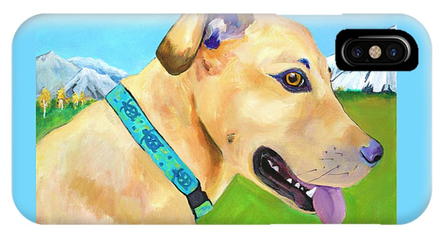 Whippet IPhone X Case featuring the painting Hadley by Pat Saunders-White