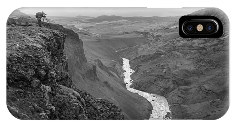 Haifoss IPhone X Case featuring the photograph Haifoss Waterfall Iceland 1370 by Bob Neiman