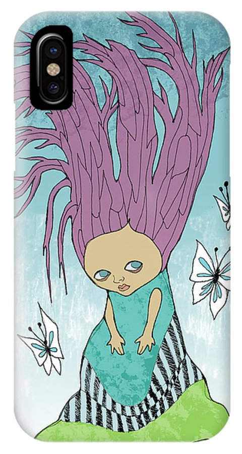 Girl IPhone X Case featuring the painting Hair Is A Tree by Lindsey Cormier