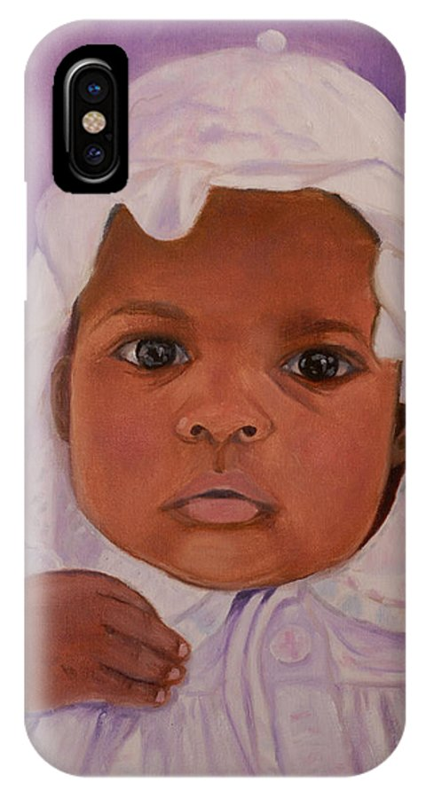 Haiti IPhone Case featuring the painting Haitian Baby Orphan by Quwatha Valentine