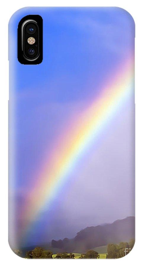 Haleakala IPhone X Case featuring the photograph Haleakala Ranch Rainbow by Jim Cazel