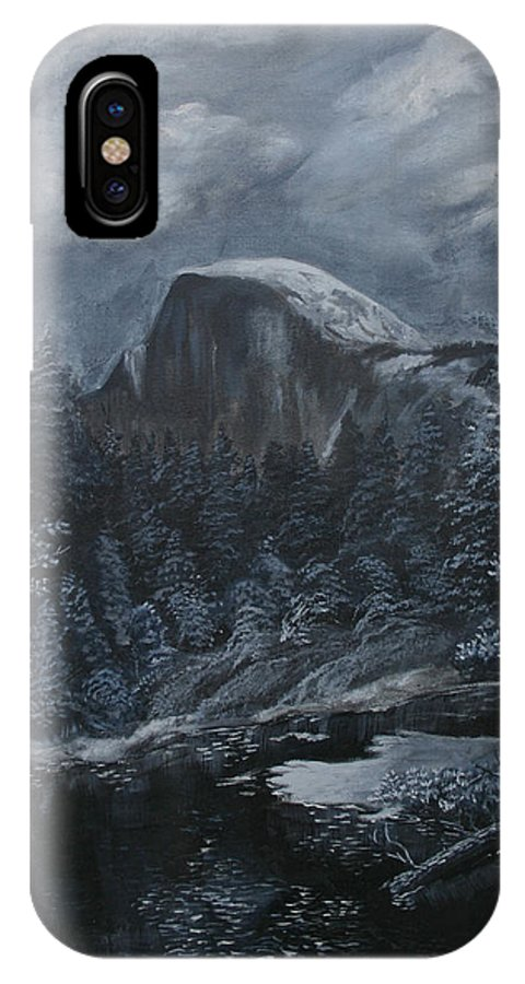 Yosemite IPhone X Case featuring the painting Half Dome Black And White by Travis Day