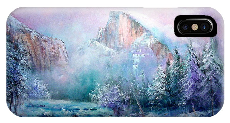 Snow IPhone X Case featuring the painting Half Dome Snow by Sally Seago