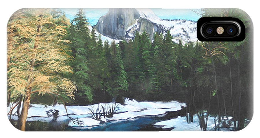 Lkandscape IPhone X Case featuring the painting Half Dome Snow by Travis Day