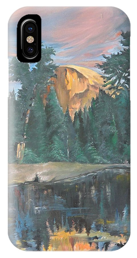 Sunset IPhone X Case featuring the painting Half Dome Sunset by Travis Day