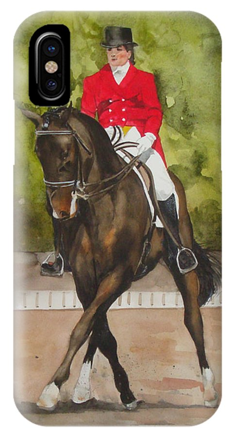 Horse IPhone X Case featuring the painting Half-pass To The Right by Jean Blackmer