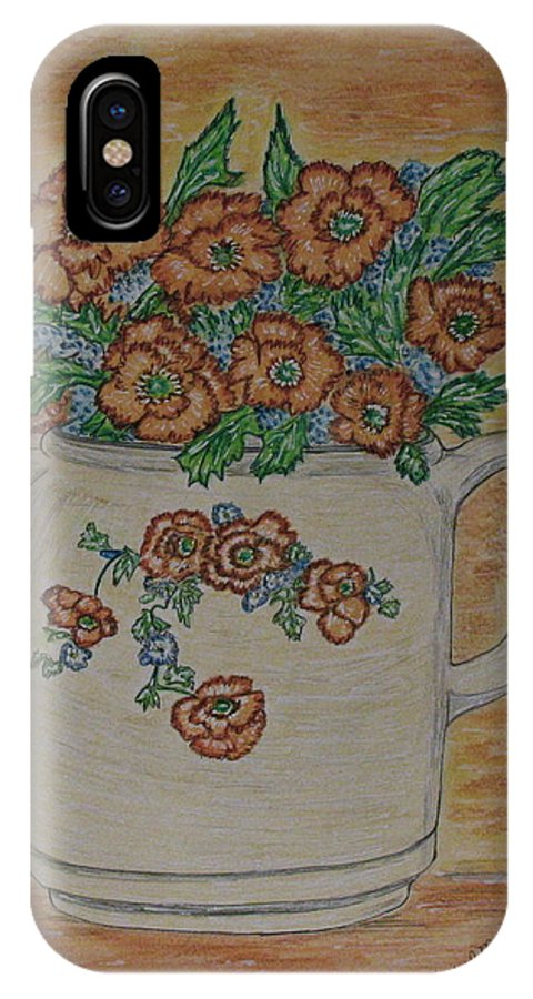 Hall China IPhone X Case featuring the painting Hall China Orange Poppy And Poppies by Kathy Marrs Chandler