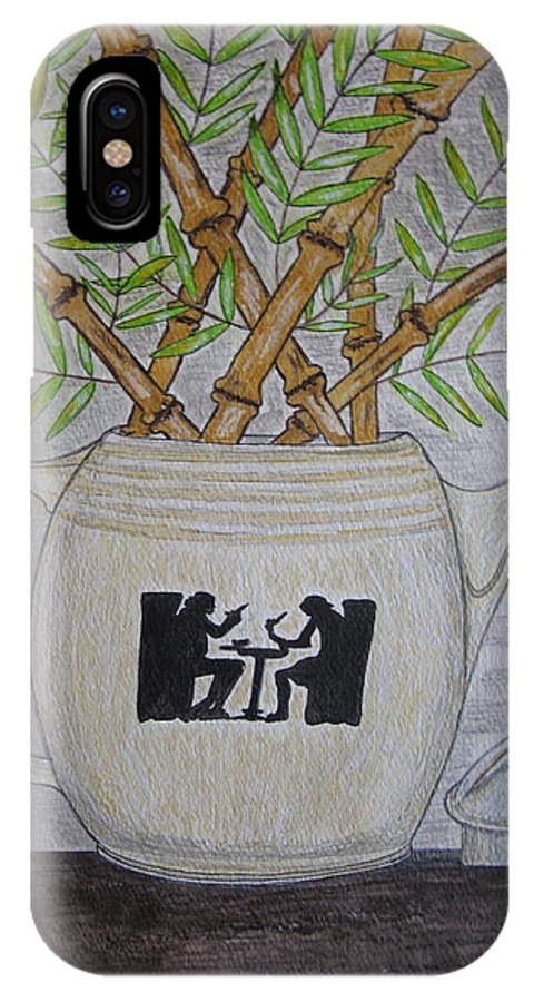 Hall China IPhone X Case featuring the painting Hall China Silhouette Pitcher With Bamboo by Kathy Marrs Chandler